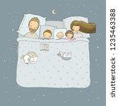 the family sleeps in bed.... | Shutterstock .eps vector #1235463388