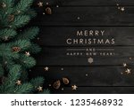 christmas tree branches with... | Shutterstock .eps vector #1235468932