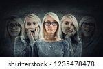 young woman suffer split... | Shutterstock . vector #1235478478