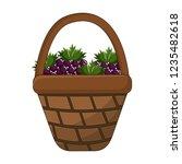 grapes inside basket design | Shutterstock .eps vector #1235482618