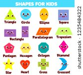 shapes for kids. collection of... | Shutterstock .eps vector #1235484322