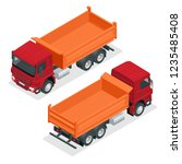 isometric dump truck vector... | Shutterstock .eps vector #1235485408