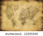ancient map of the world   Shutterstock . vector #12355240
