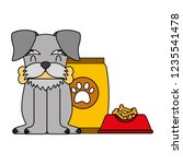 domestic dog with food | Shutterstock .eps vector #1235541478