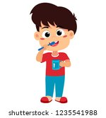 kid brushing teeth.vector and... | Shutterstock .eps vector #1235541988