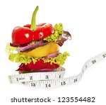 vegetables sandwich with tape... | Shutterstock . vector #123554482