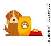 domestic dog with food | Shutterstock .eps vector #1235544982