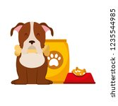 domestic dog with food | Shutterstock .eps vector #1235544985