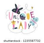 "childish creative print ""unique ... | Shutterstock .eps vector #1235587732"