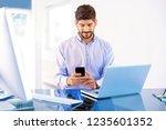 young businessman wearing shirt ... | Shutterstock . vector #1235601352