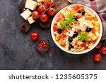 minestrone  italian vegetarian...   Shutterstock . vector #1235605375