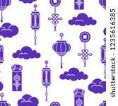 chinese lanterns  chinese money ... | Shutterstock .eps vector #1235616385