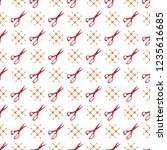 seamless pattern with scissors. ... | Shutterstock .eps vector #1235616685