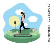 young woman exercising cartoon | Shutterstock .eps vector #1235639362