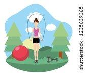 young woman exercising cartoon | Shutterstock .eps vector #1235639365