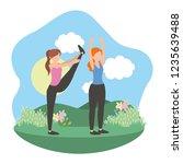 young women exercising cartoon | Shutterstock .eps vector #1235639488