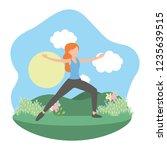 young woman exercising cartoon | Shutterstock .eps vector #1235639515