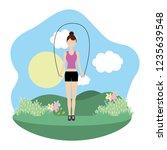 young woman exercising cartoon | Shutterstock .eps vector #1235639548