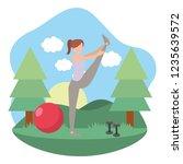 young woman exercising cartoon | Shutterstock .eps vector #1235639572