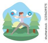 young woman exercising cartoon | Shutterstock .eps vector #1235639575