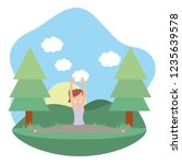 young woman exercising cartoon | Shutterstock .eps vector #1235639578