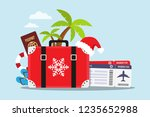 travel to the beach in... | Shutterstock .eps vector #1235652988