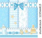 set baby patterns. vector... | Shutterstock .eps vector #123566815