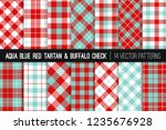 aqua blue and red tartan and... | Shutterstock .eps vector #1235676928