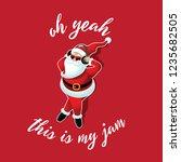 cartoon santa claus listening... | Shutterstock .eps vector #1235682505