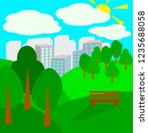 cartoon park in flat style.... | Shutterstock .eps vector #1235688058