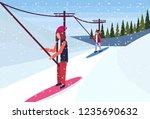 woman snowboarder using ski... | Shutterstock .eps vector #1235690632