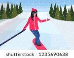 girl snowboarder sliding down... | Shutterstock .eps vector #1235690638