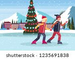 couple skating ice rink... | Shutterstock .eps vector #1235691838