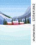 small village houses frozen... | Shutterstock .eps vector #1235691862