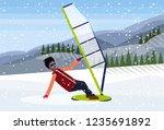 man windboarder windsurfing on... | Shutterstock .eps vector #1235691892