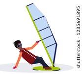man windboarder holding sail... | Shutterstock .eps vector #1235691895