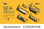 sea freight transport isometric ... | Shutterstock .eps vector #1235694148