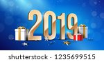2019 happy new year background  ... | Shutterstock .eps vector #1235699515