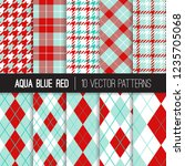 aqua blue and red argyle ... | Shutterstock .eps vector #1235705068