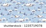 seamless winter landscape... | Shutterstock .eps vector #1235719078