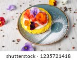 strawberry tart garnished with...   Shutterstock . vector #1235721418