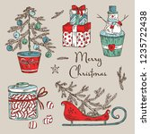 christmas and new year... | Shutterstock .eps vector #1235722438