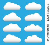white cloud icon set. fluffy... | Shutterstock .eps vector #1235726038