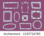 set of hand drawn sketch frames.... | Shutterstock .eps vector #1235726785