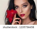 a beauty brunette mystery woman ...   Shutterstock . vector #1235736658