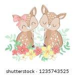 hand drawn cute little deer.... | Shutterstock .eps vector #1235743525