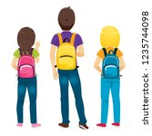 back view of college students... | Shutterstock .eps vector #1235744098