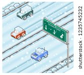 snow covered highway during... | Shutterstock .eps vector #1235745232