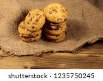 chocolate chip cookies on...   Shutterstock . vector #1235750245