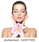 beauty face of young woman with ... | Shutterstock . vector #123577492